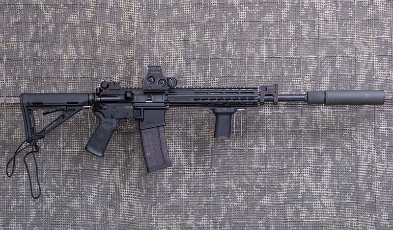 5,56 mm. (.223 Rem)-KBK AR 15 w wersji GH-15 z supresorem, lufa 14,5 cala (strzelamy bez supresora)
