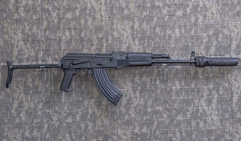 7,62 mm.-KBK AKMS z tłumikiem dźwięku PBS-1, (strzelamy bez tłumika)
